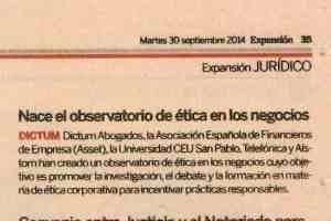 Recorte Expansión 30-9-14 observatorio ética negocios
